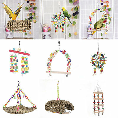 Parrot Pet Bird Wooden Swing Chew Toy Straw Cage Hanging Toys Large Rope Ladder