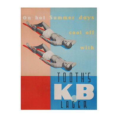 Tooths KB Lager Sandy Duo 320x480mm photoposter beer bar swimwear summer 1950s
