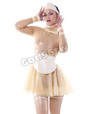 100% Latex Rubber Maid Maiden Dress Kleid Catsuit Streifen Lolita Vintage Kostüm