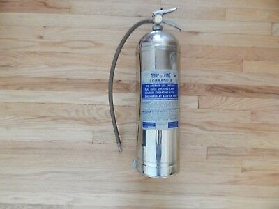 Vintage 1969 Stop Fire Commander Fire Extinguisher Water Stainless Steel