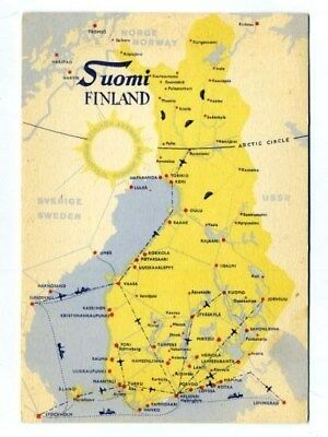 Suomi Finland Postcard Airline and Ship Route Map Midnight Sun