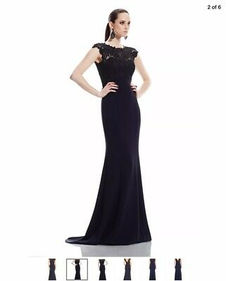 Theia Illusion Lace Gown With Plunged Back, Rv $1165, Size 6, Nwt