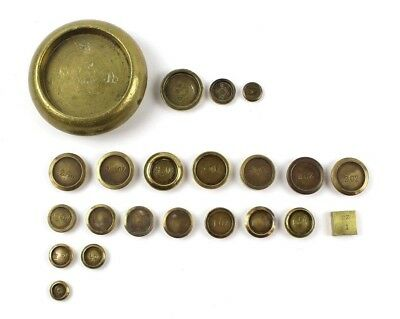 Lot of 22 Vintage Brass Scale Weights 1 LB, (9) 2 oz, (7)1 oz, (1) square 1 oz,