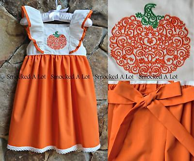 351cadfe799 Smocked A Lot Girls Pumpkin Harvest Dress Thanksgiving Fall Turkey Orange  Outfit