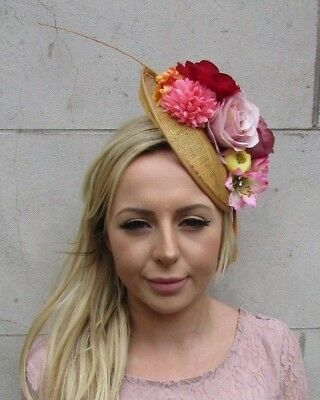 Gold Mustard Pink Red Nude Yellow Feather Flower Disc Saucer Hat Fascinator 6054