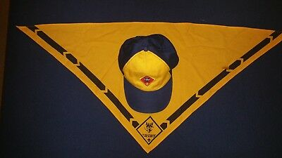 Cub Scout Wolf Hat Blue Yellow P Cap BSA Hat, Adjustable Twill M/L & Scarf