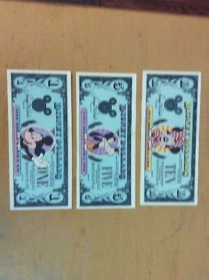 Collectors Set Of three 1990 Disney(1ea ) one dollar, five dollar and ten dollar