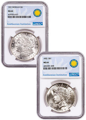 2-Coin Morgan + Peace Dollar Set - 1921-1922 Silver Dollars NGC MS64 SKU54395