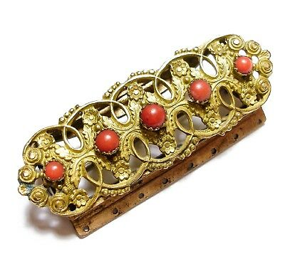Beautiful Old Antique Georgian Ornate Pinchbeck & Coral Clasp Brooch Pin (A1)