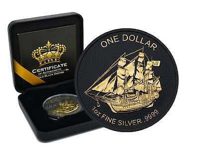 MUTINY ON THE BOUNTY GOLD BLACK EMPIRE 2018 1 oz Silver Coin Ruthenium 24K GOLD