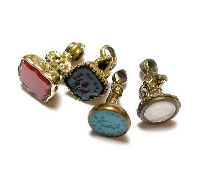 Collection Of Four Old Beautiful Old Antique Georgian Seal Fob Pendants (A5)