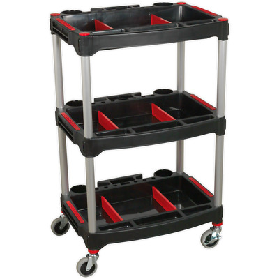 Sealey 3 Level Composite Trolley with Parts Storage Black / Red