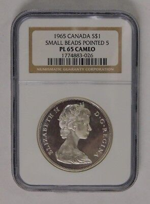 1965 Canada Silver Dollar Small Beads Pointed 5 NGC PL 65 Cameo Check Pics!!
