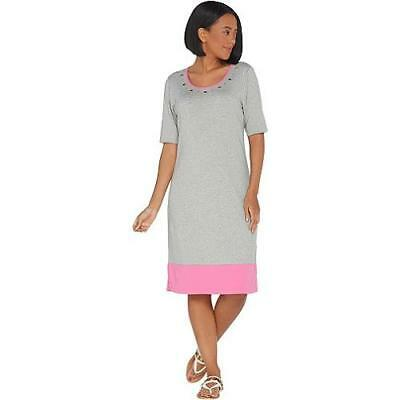 8a840ace3ab107 Quacker Factory Size 1X Grey/Pink Color-Blocked Knit Dress w/Rhinestone  Grommets