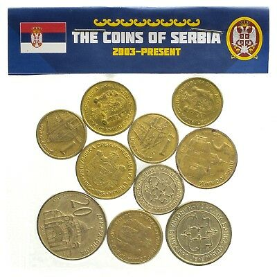 Serbian 10 Coins From Serbia Dinar Dinara Lot Old Collectible Currency 2003-2018