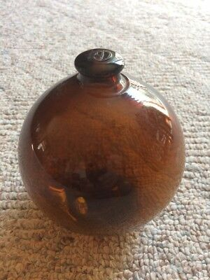 "Vintage Japanese Glass Fishing Float, Amber Glass 4"" Diameter"