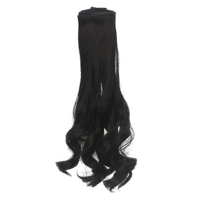 25x100cm Dolls Hairpiece Curly Hair Wig for Doll DIY Making Supplies Black