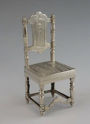 Sterling Silver Miniature Straight Panel Engraved Back Chair Upholstered