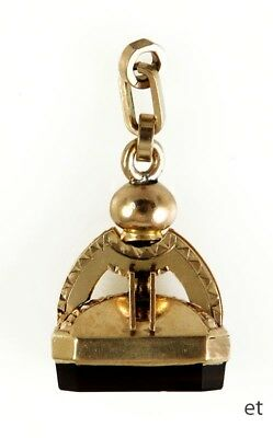 Antique Victorian 19th Century 10K Gold Carved Intaglio Fob or Pendant