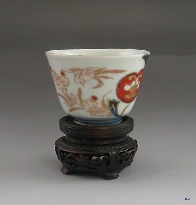 Antique Early 1800s Chinese Painted Porcelain Tea/Sake Cup w/ Carved Wood Stand