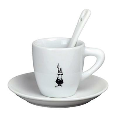 Bialetti Classic Italian Espresso Cup and Saucer with Spoon Set in Porcelain,