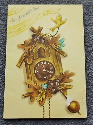 Vintage Greeting Card Get Well Cuckoo Clock with Cute Bird