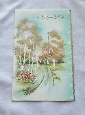 Vintage Get Well Litho'd/Country Church w Trees & Flowers/Die Cut/Gold Emboss