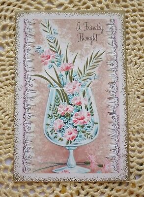 Vintage Happy Birthday Card Flowers with Gold in Champagne Glass Beauty !!