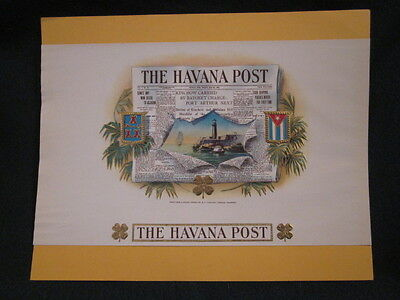 The Havana Post Cigar Label- G. F. Hemler- Newspaper- Gold Trim- Lighthouse