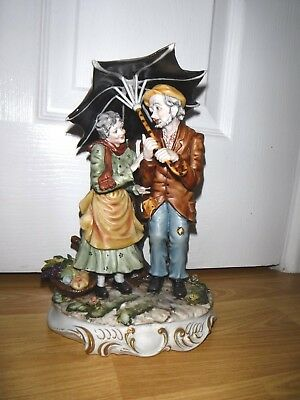 Capodimonte Old Man & Lady Sheltering Under An Umbrella ~ Excellent ~ Rare