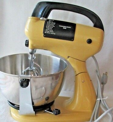 Vintage Hamilton Beach Scovill Yellow Stand Mixer  Works Well