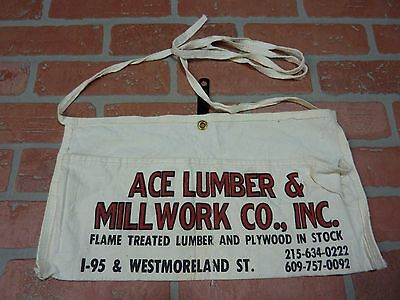 Old ACE LUMBER & MILLWORK Cloth Tool Apron I-95&Westmoreland St NJ/Pa
