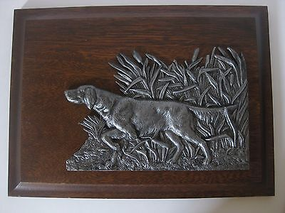 Pewter Pointer Dog Signed Mounted on Wood Frame Detailed 15 x 11 Heavy 3.18 lbs