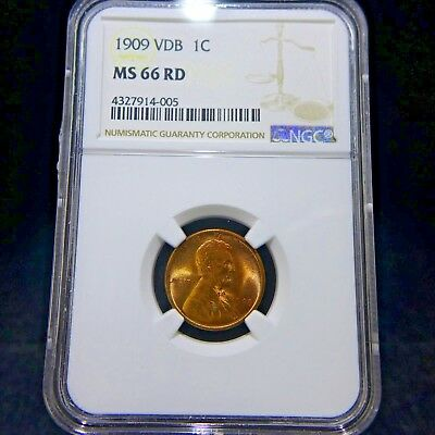 1909 VDB 1C Lincoln Wheat Cent NGC MS 66 RD