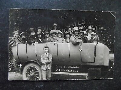 1920s Real Photo Postcard of Somerset Charabanc GOUGH's CAVES CHEDDAR