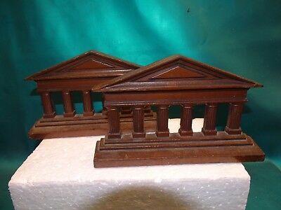Vintage Pair of Cast Iron Greek / Roman Style Column Bookends Nice !