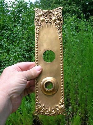 Vintage Old Antique Ornate Heavy Cast Bronze Door Knob Back Plate