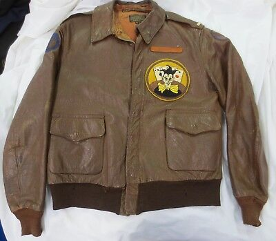 WW2 Leather Bomber A-2 Jacket 570th Squadron/390th Group w/ Name Tag 8th AAF