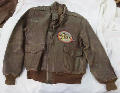 Painted P-38 Lightning WW2 A2 Leather Jacket,Yellow jacket  patch, noted in book