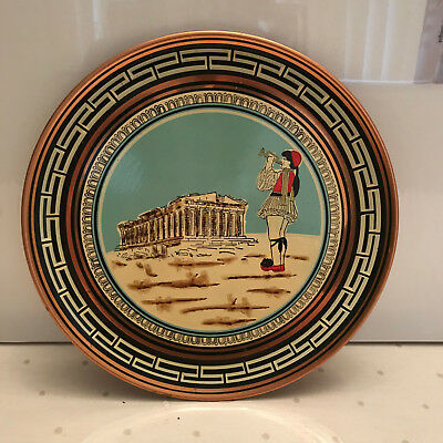 Vintage hand made & painted Greek Cooper wall hanging plate of the Parthenon