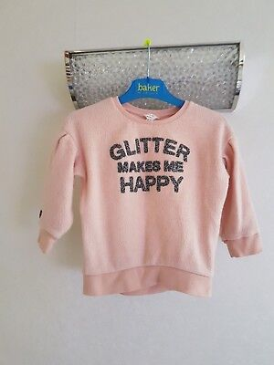 Girls Pink River Island Top Jumper Age 18-24 Months Glitter Makes Me Happy