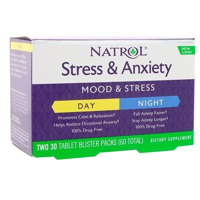 Natrol, Stress & Anxiety, Mood & Stress, Two 30 Tablet Blister Packs (60 Total)