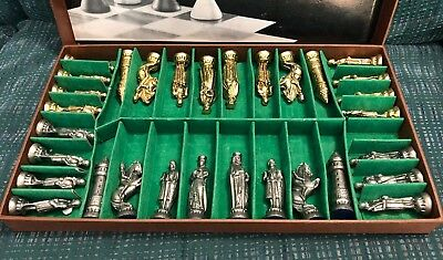 Vintage RARE Medieval Metal Gold And Silver Chess Set ~Missing One~