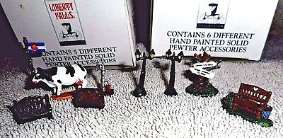 Liberty Falls 9 Pewter Dollhouse Miniature Figures Cow Sign Benches AH52 1998