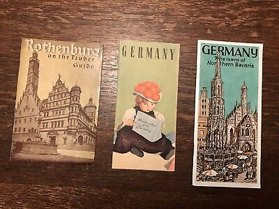 3 Pamphlets Booklets On Travel In Germany Northern Bavaria Rothenburg Maps 1920s