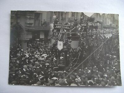 Pre WW1 Real Photo Postcard Celebration Tram by Guild Hall Exeter