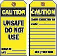 """Brady Economy Polyester, Unsafe Do Not Use Caution Tag, 5-3/4"""" Height, 3"""" Width"""