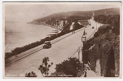 EASTBOURNE - Western Parade Drive - #49 - 1931 used Real Photo Sussex postcard