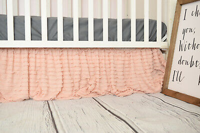 Blush Pink Ruffle Crib Skirt for Baby Girl Nursery - Gorgeous Dust Ruffle Chic