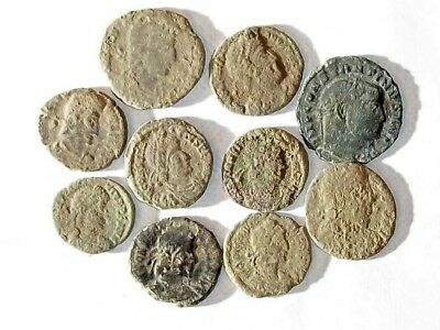 10 ANCIENT ROMAN COINS AE3 - Uncleaned and As Found! - Unique Lot 22901